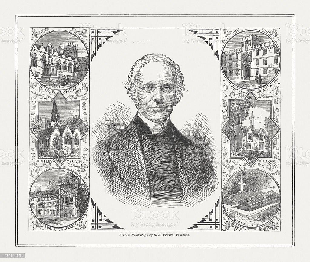John Keble (1792 - 1866), English churchman, published 1873 vector art illustration