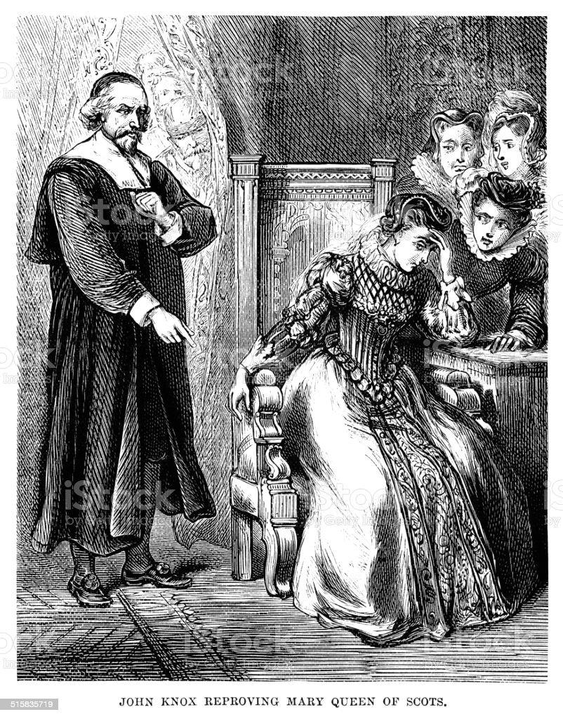 John Knox reproving Mary, Queen of Scots vector art illustration