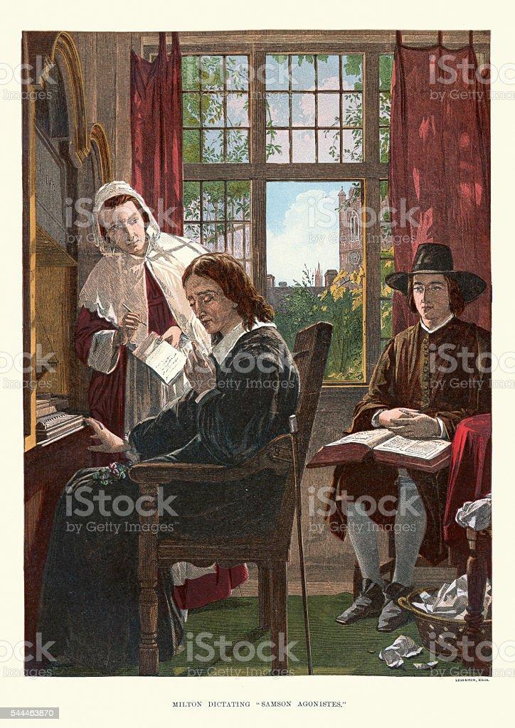 John Milton dictating Samson Agonistes vector art illustration