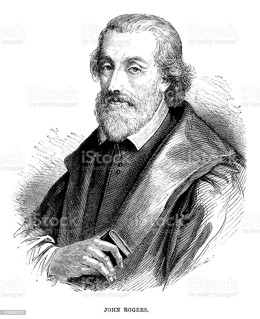 John Rogers - Bible editor and martyr vector art illustration