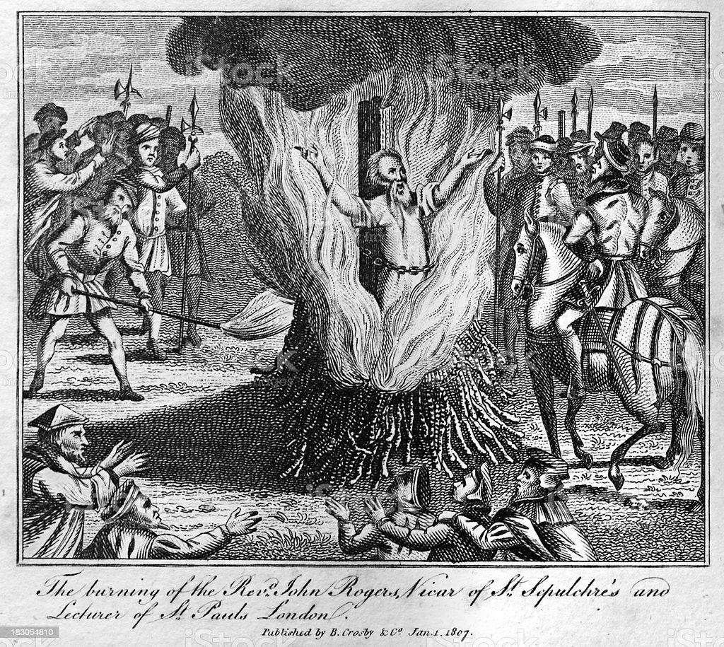 John Rogers burned at the stake vector art illustration