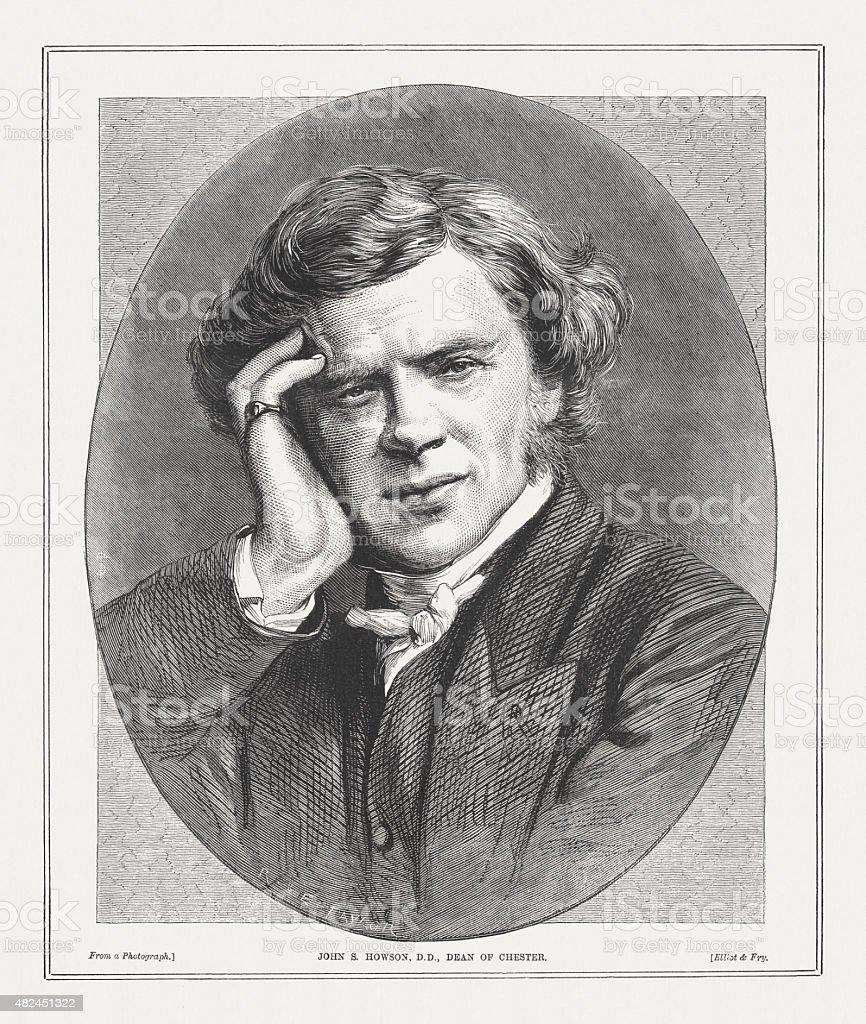John Saul Howson (1816 - 1885), English priest, published 1873 vector art illustration