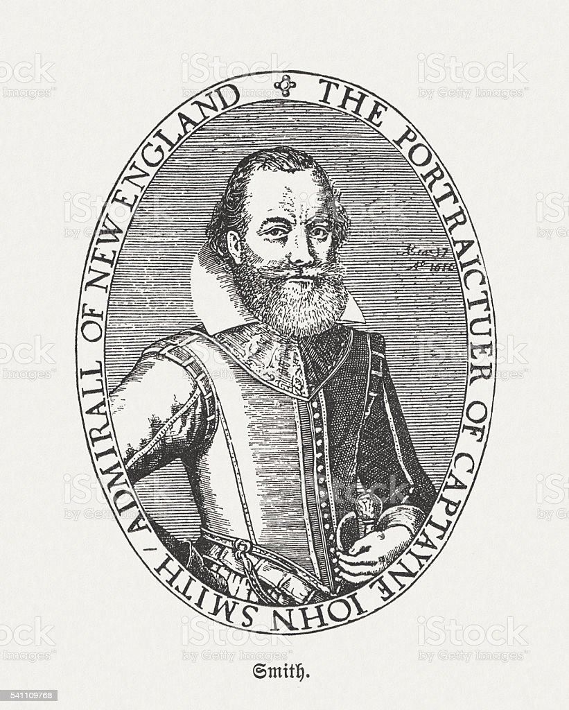 John Smith (1580-1631), Admiral of New England, published in 1884 vector art illustration