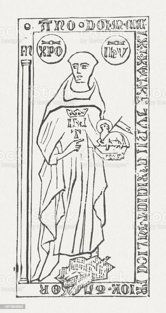 John Tauler (Johannes Tauler, c.1300-1361), German theologian, published in 1877 vector art illustration