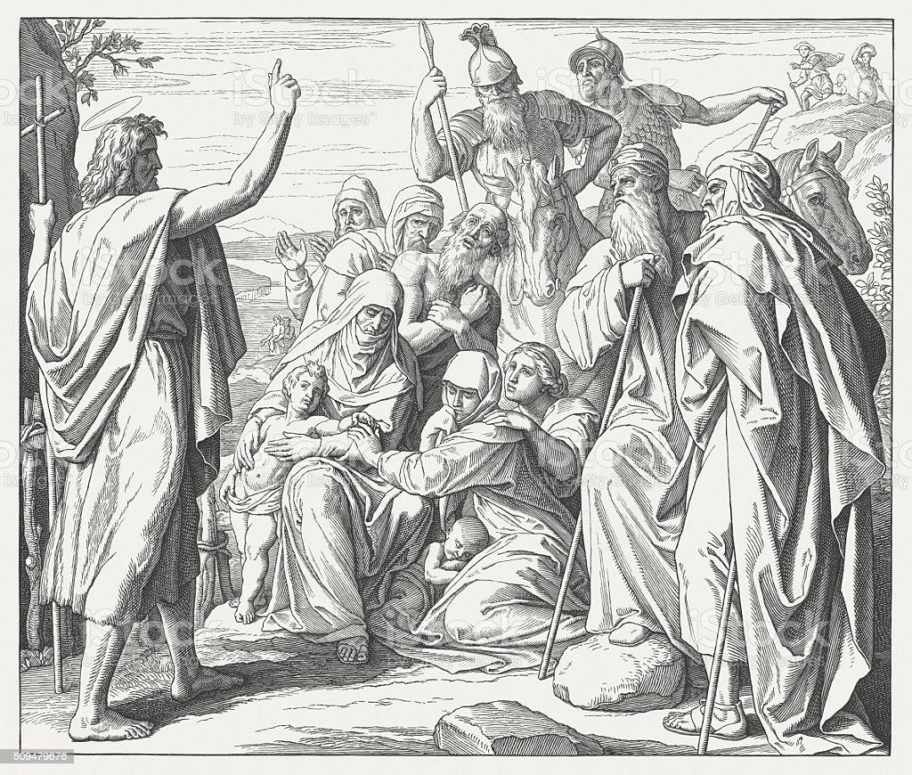 John the Baptist (Matthew 3), wood engraving, published in 1860 vector art illustration