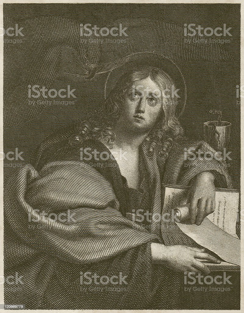 John the Evangelist, by Domenichino, steel engraving, published c.1840 vector art illustration