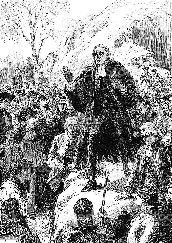 John Wesley preaching at Gwennap Pit, Cornwall vector art illustration