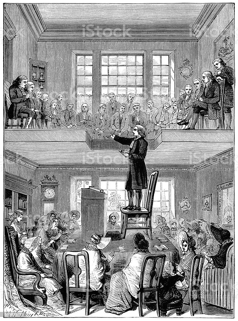 John Wesley preaching at Nottingham vector art illustration