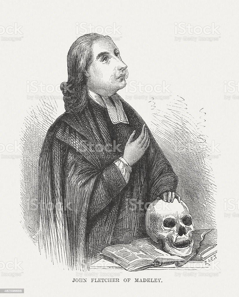 John William Fletcher (1729 - 1785), methodist theologian, published 1873 vector art illustration