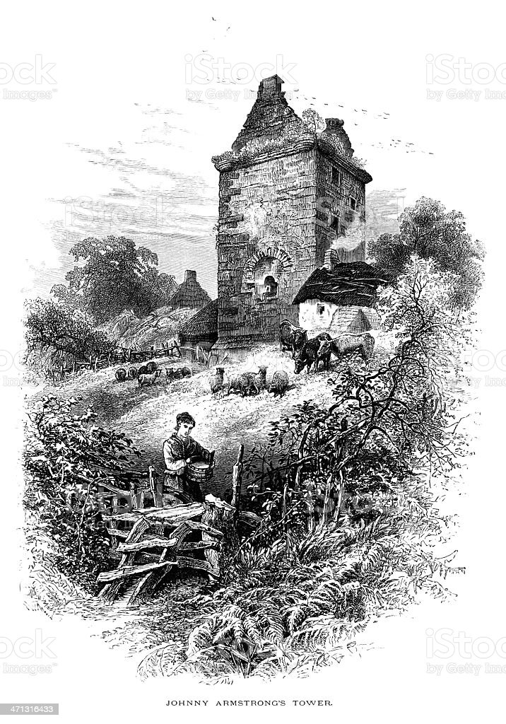 Johnny Armstrong's Tower, Gilnockie, Dumfriesshire vector art illustration