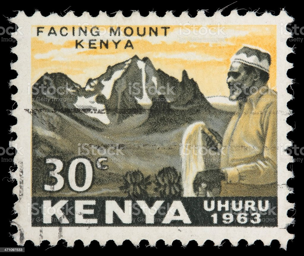 Jomo Kenyatta and Mt. Kenya postage stamp vector art illustration