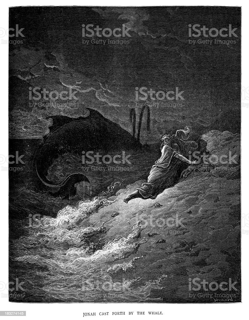 Jonah Cast Forth by the Whale royalty-free stock vector art