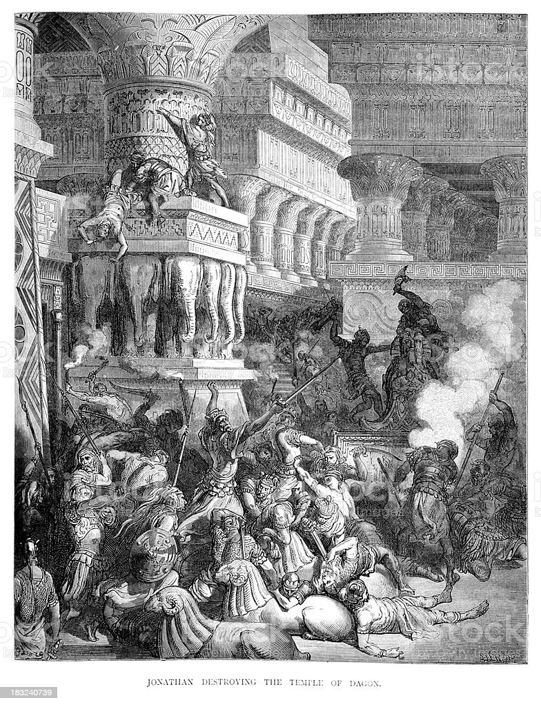Jonathan destroying the Temple of Dagon vector art illustration
