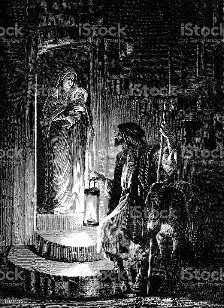 Joseph and Mary Depart for Egypt with Baby Jesus royalty-free stock vector art