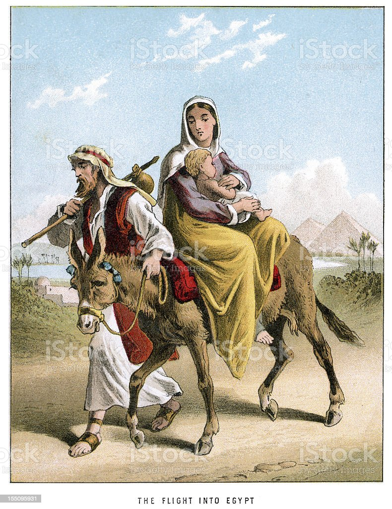 Joseph and Mary's Flight into Egypt royalty-free stock vector art