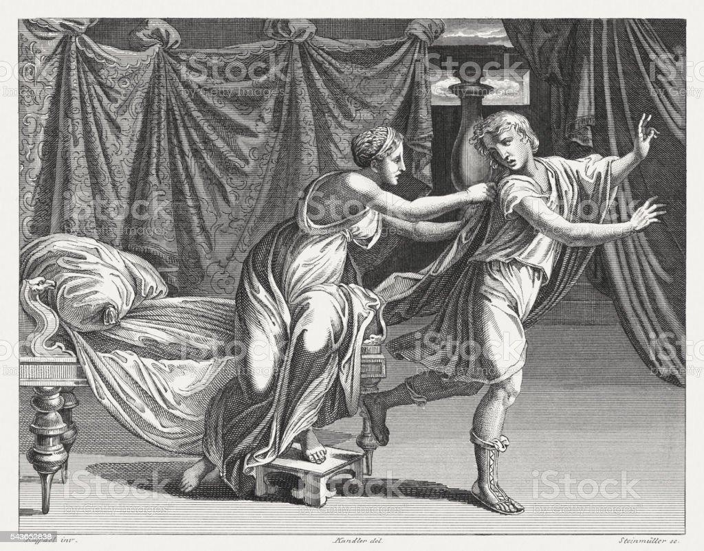 Joseph and Potiphar's Wife (Genesis 39), steel engraving, published 1841 vector art illustration