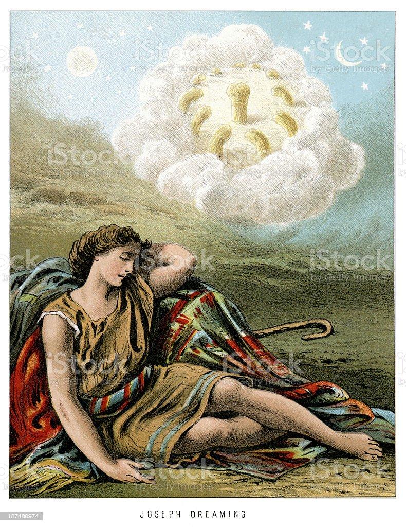Joseph Dreaming vector art illustration