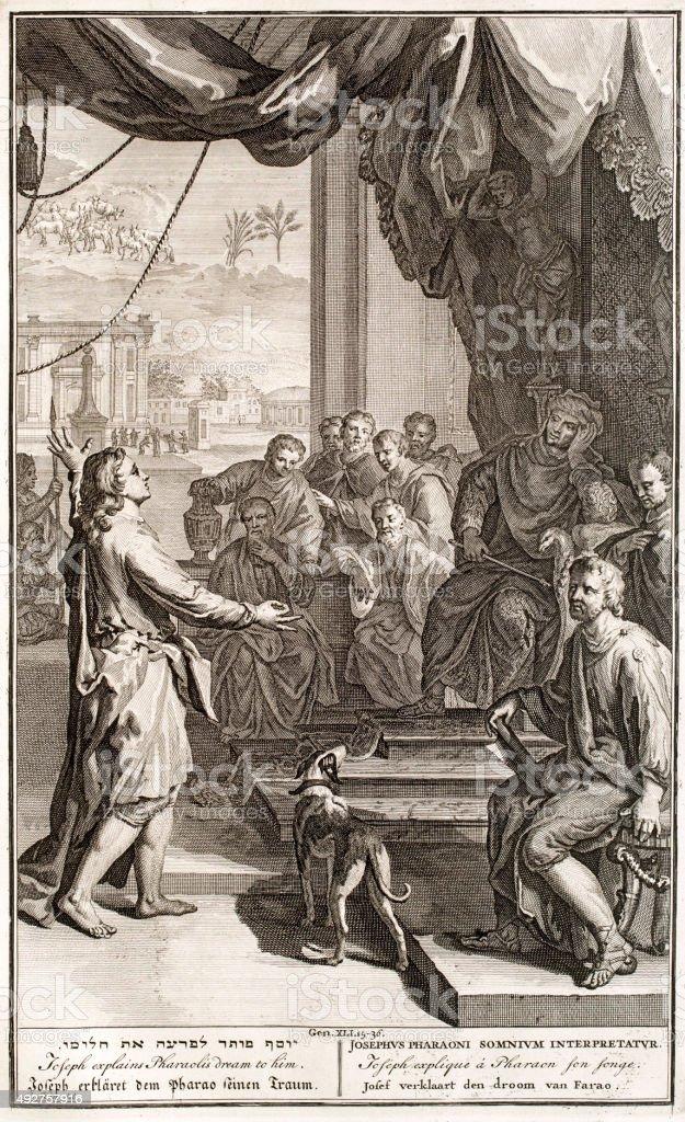 Joseph explains Paraon his dream, 18th century Bible vector art illustration