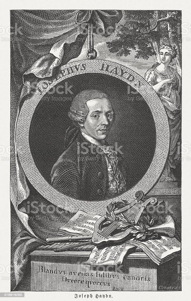 Joseph Haydn (1732-1809), Austrian composer, wood engraving, published in 1884 vector art illustration