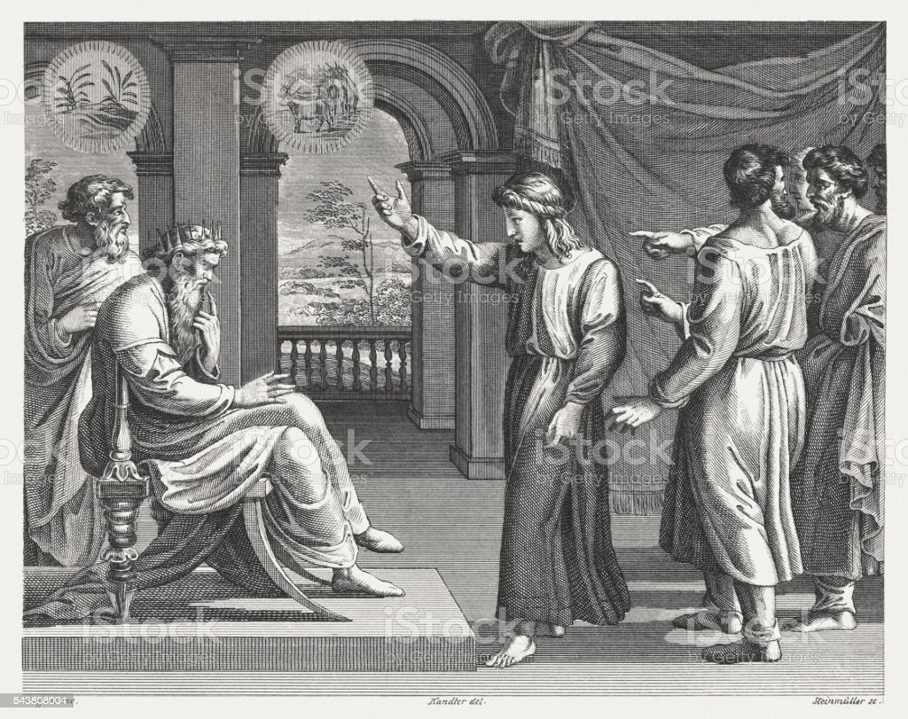 Joseph interprets Pharaoh's dreams (Genesis 41), steel engraving, published 1841 vector art illustration