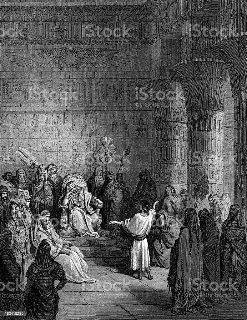 Joseph interprets the Pharaoh's dream royalty-free stock vector art