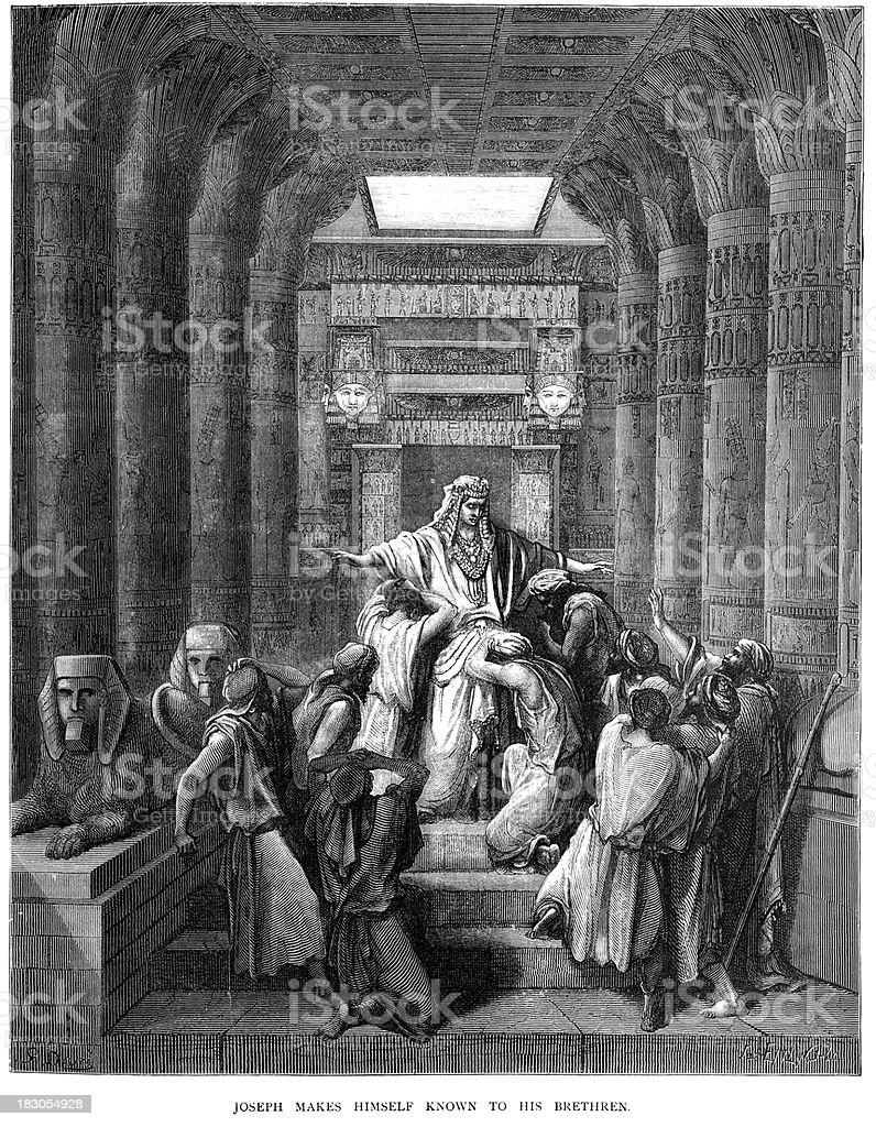 Joseph makes himself known to his Brethren royalty-free stock vector art