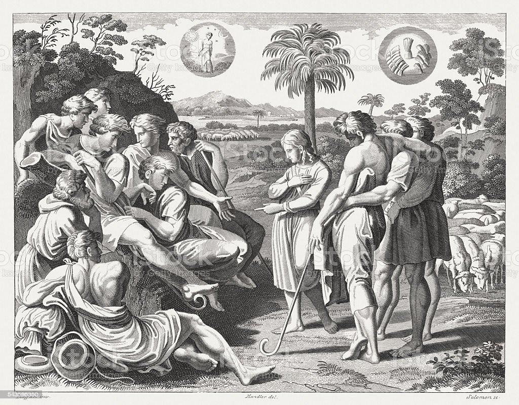 Joseph telling his dreams to his brothers (Genesis 37) vector art illustration