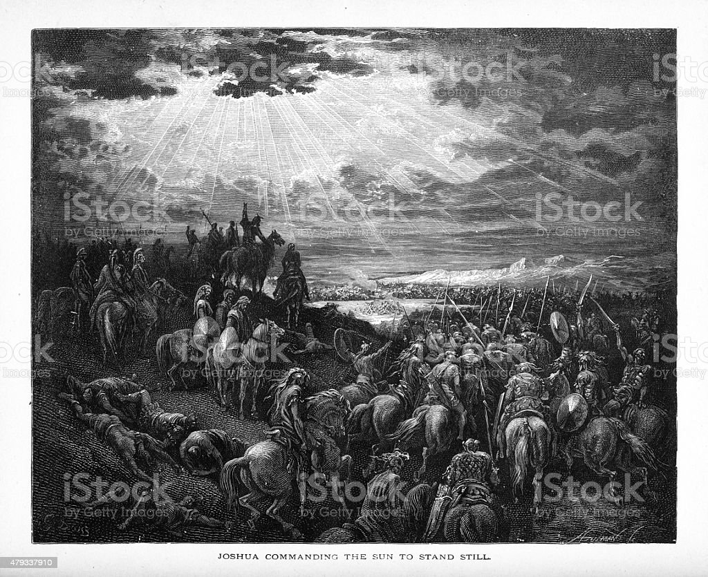 Joshua Commanding the Sun to Stand Still Biblical Engraving vector art illustration