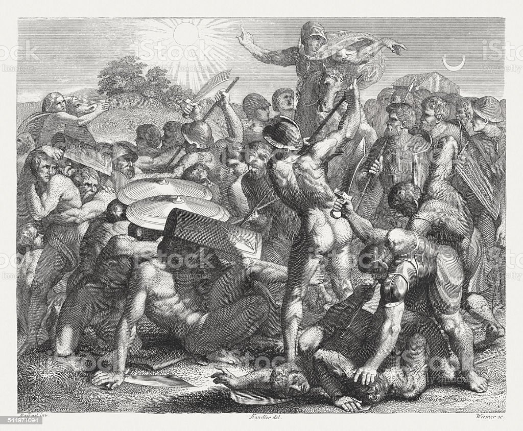 Joshua's wondrous victory against the Amorites (Joshua 10), published 1841 vector art illustration