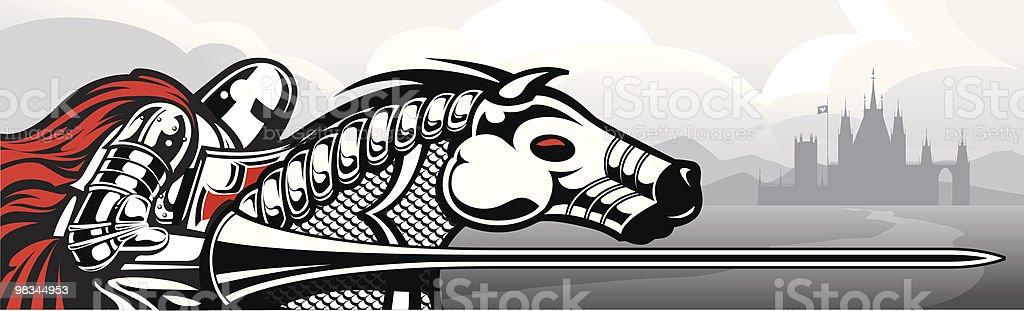 Jousting Knight vector art illustration