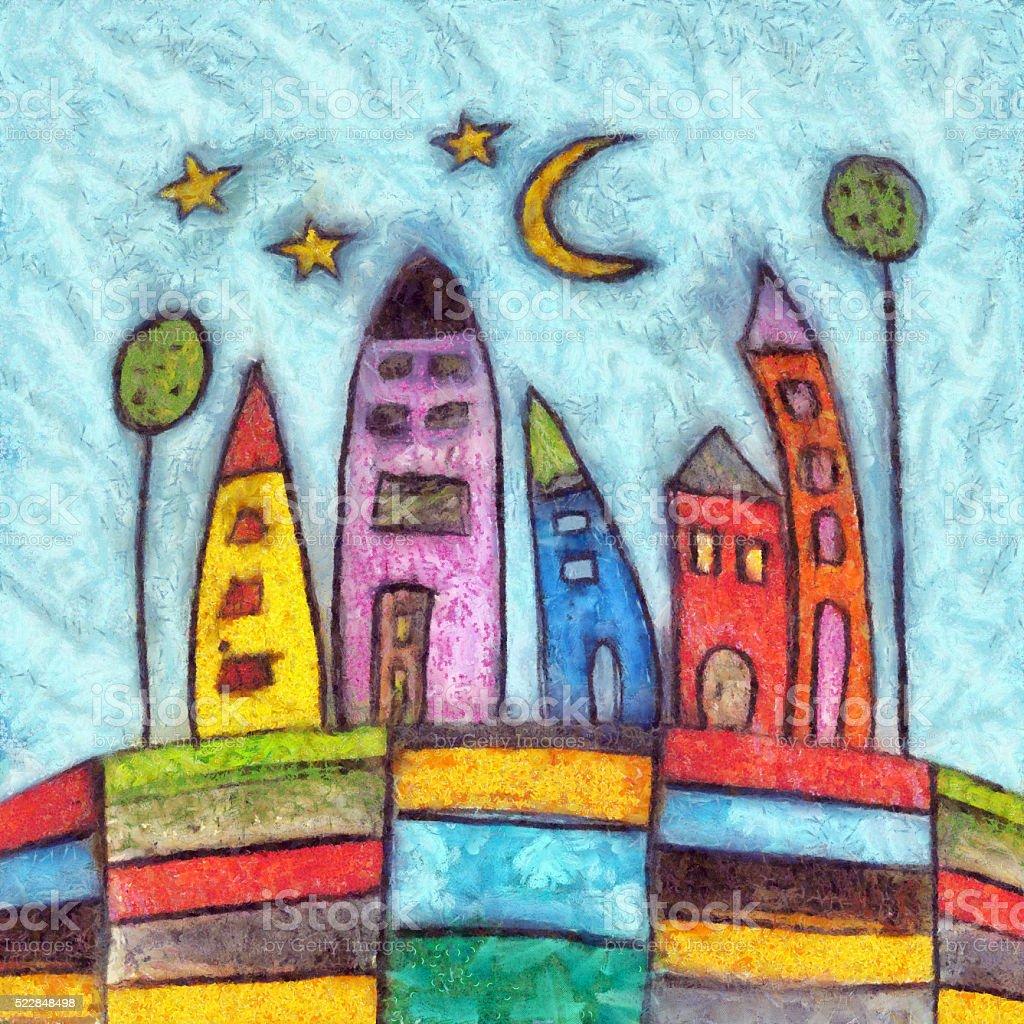 Joyful Cityscape Naive Painting vector art illustration