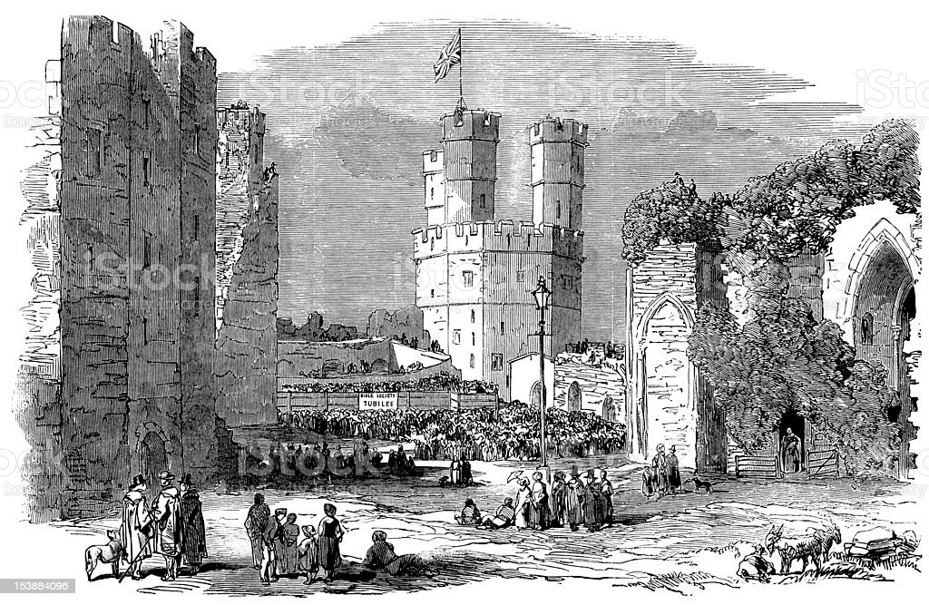 Jubilee at Caernarfon Castle, North Wales, Illustrated London News royalty-free stock vector art