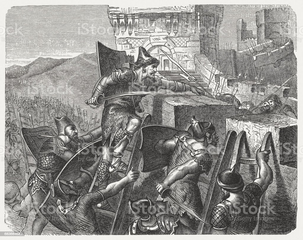 Judah's King Jehoash conquers Jerusalem (2 Chronicles 25,23), published 1880 vector art illustration
