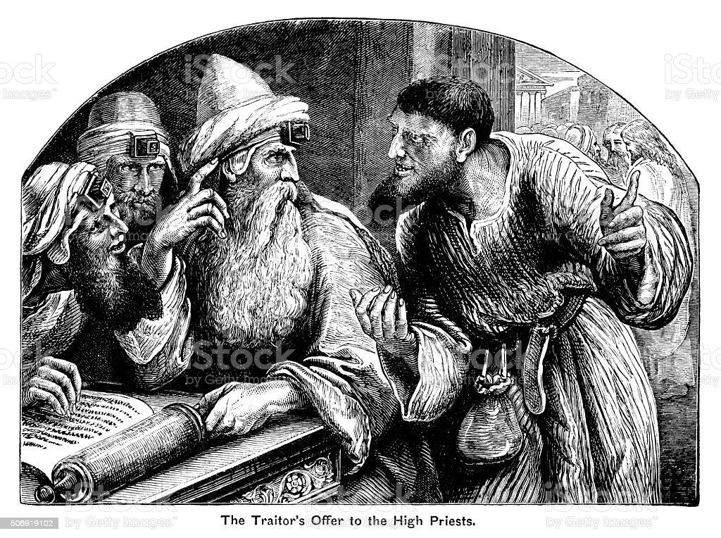 Judas Iscariot offering to betray Jesus to the Sanhedrin vector art illustration