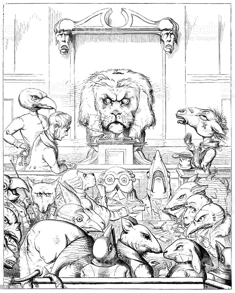 Judge Lion presiding in court royalty-free stock vector art