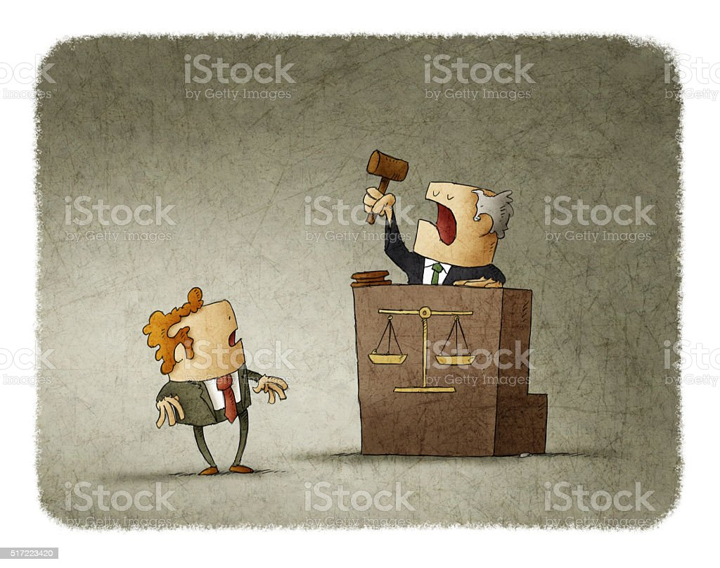 Judge pronouncing sentence to man vector art illustration