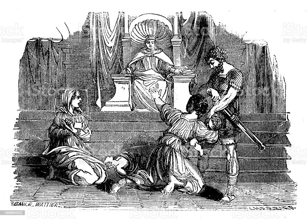 Judgement of Solomon Engraved Image vector art illustration