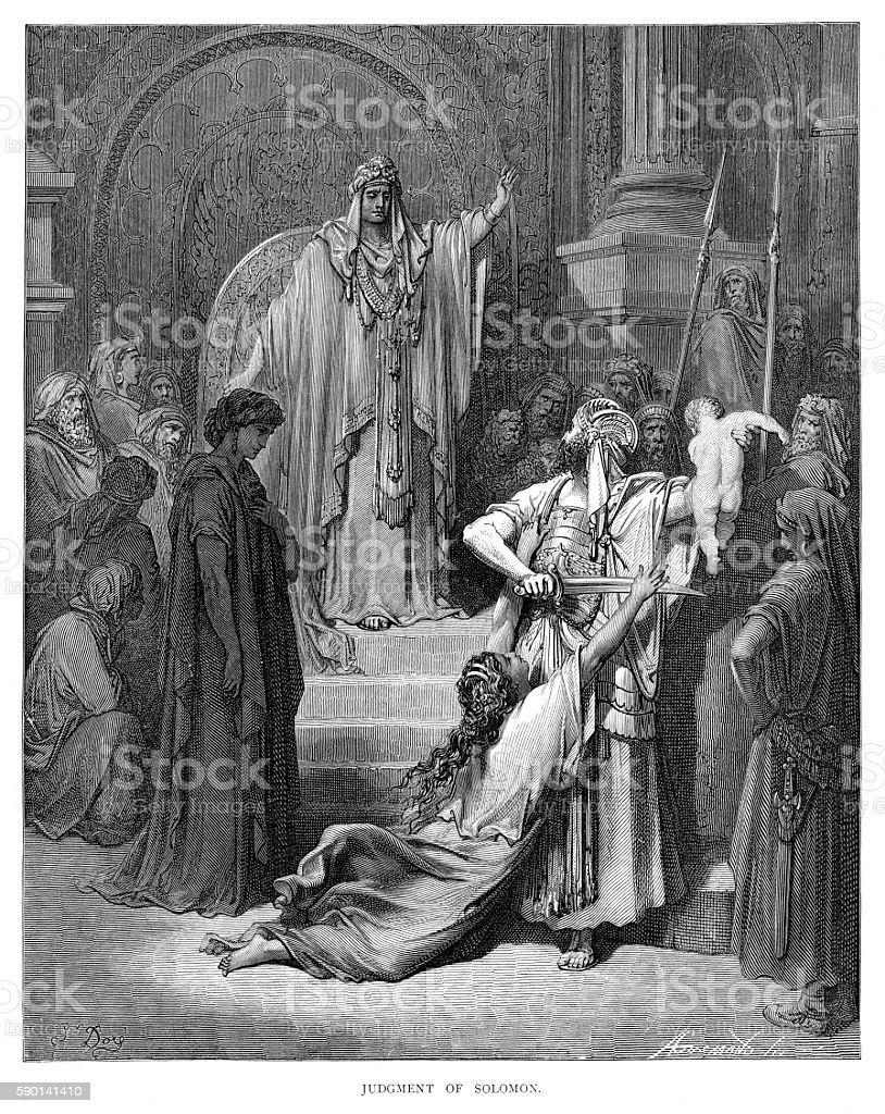 Judgement of Solomon engraving 1870 vector art illustration
