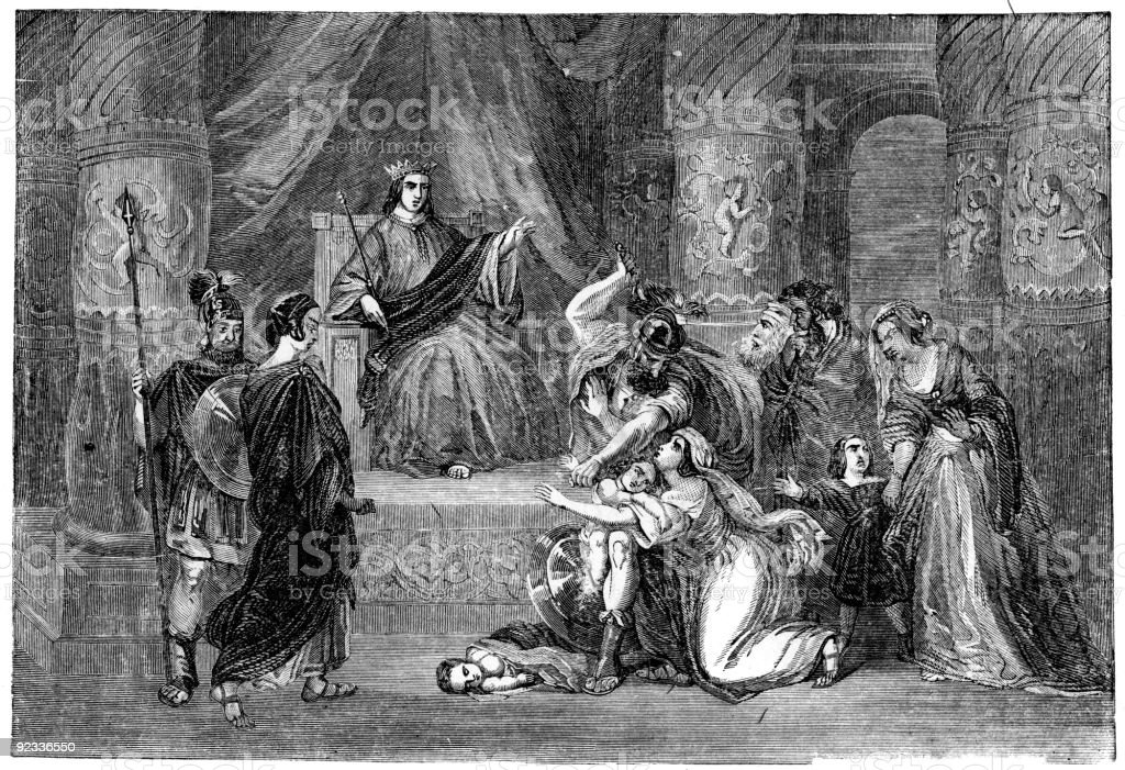 Judgement of Solomon vector art illustration