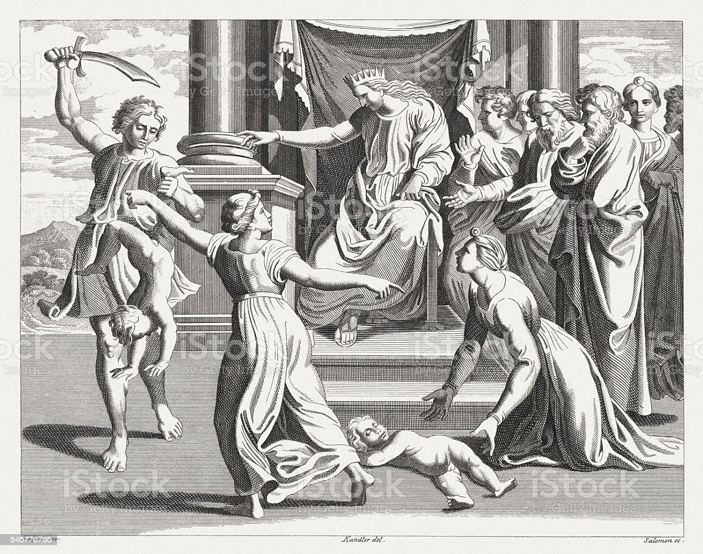 Judgement of Solomon (1 Kings 3), steel engraving, published 1841 vector art illustration