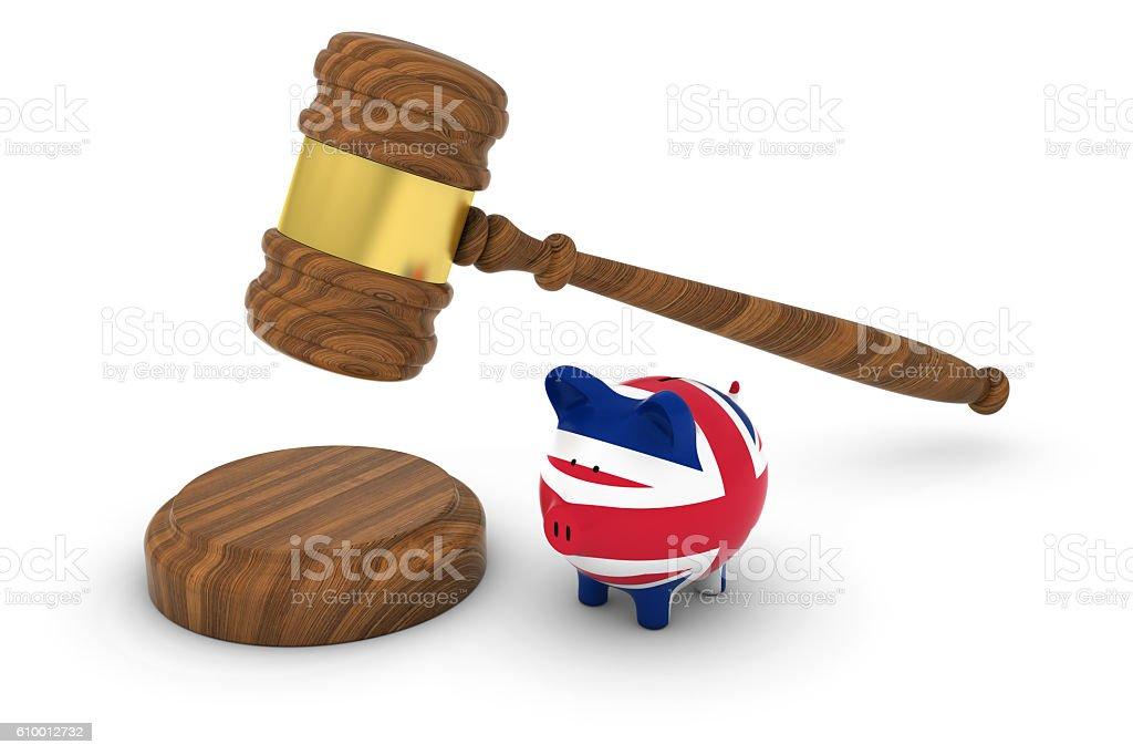 Judge's Gavel with British Flag Piggy Bank 3D Illustration vector art illustration