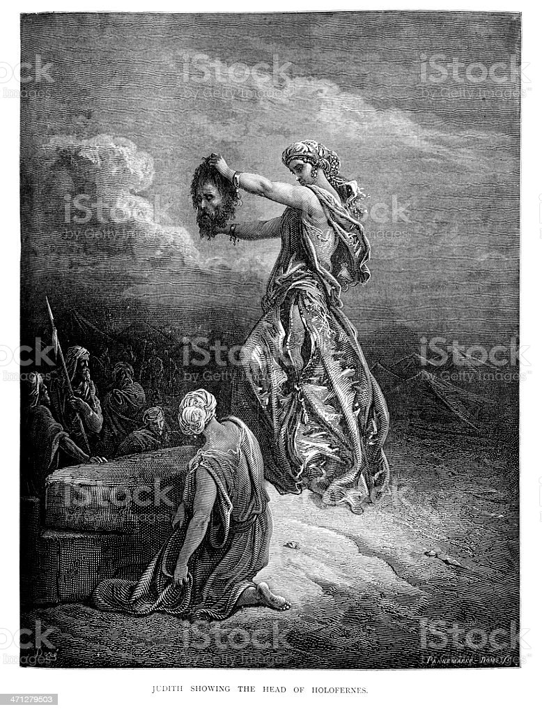 Judith showing the head of Holofernes royalty-free stock vector art