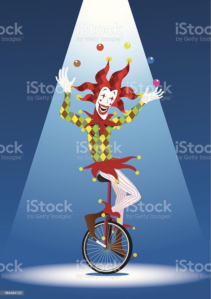Juggler on a Unicycle royalty-free stock vector art