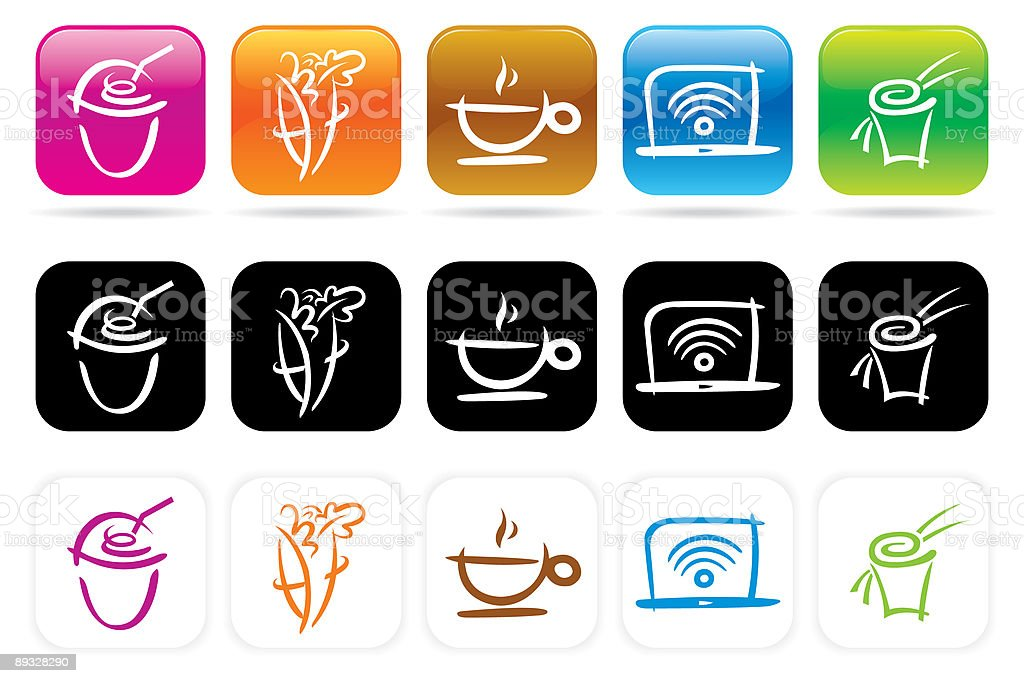 juice bar icons set 1 vector art illustration