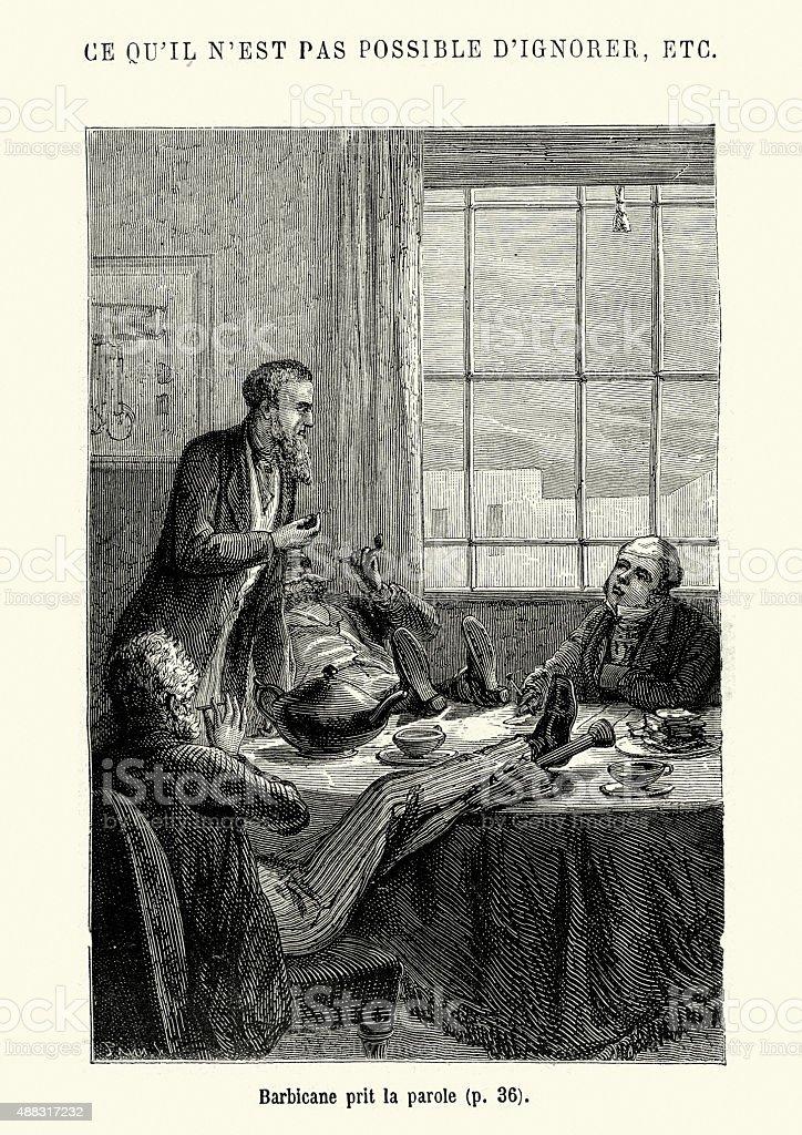 Jules Verne - Barbicane prit la parole vector art illustration