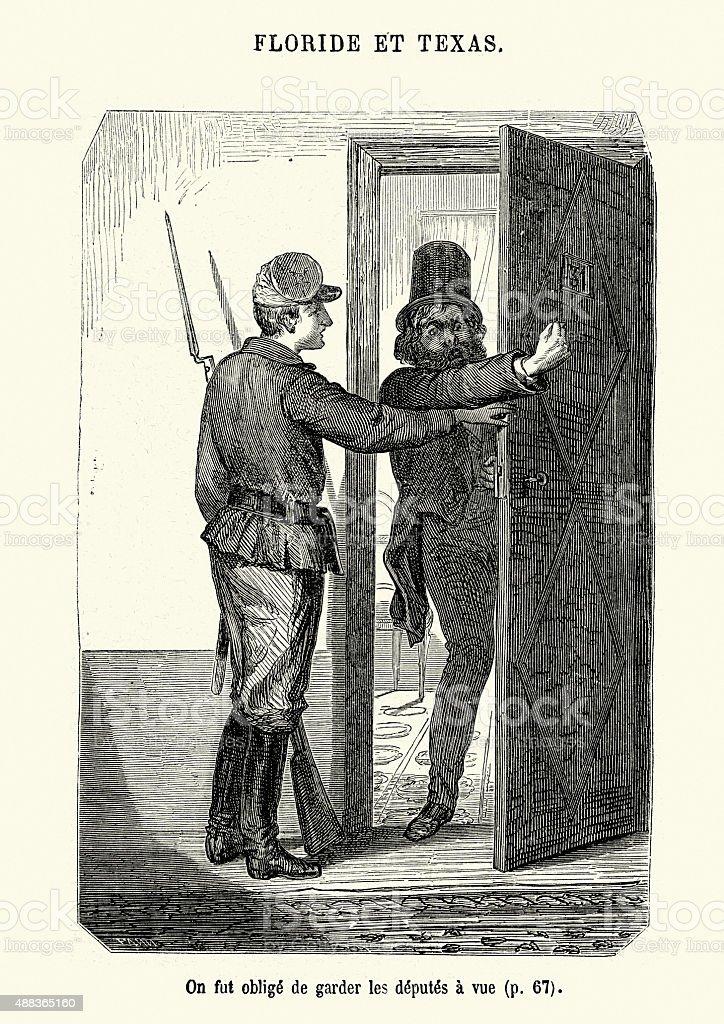 Jules Verne - Keep an Eye Upon the Deputies vector art illustration