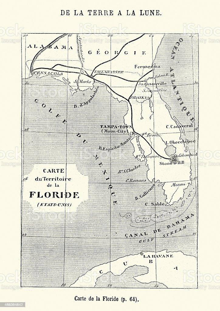 Jules Verne - Map of Florida vector art illustration
