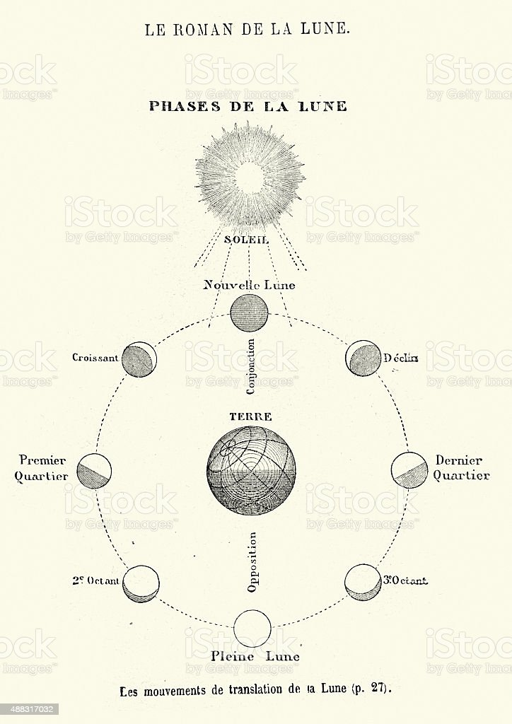 Jules Verne - Phases of the Moon vector art illustration