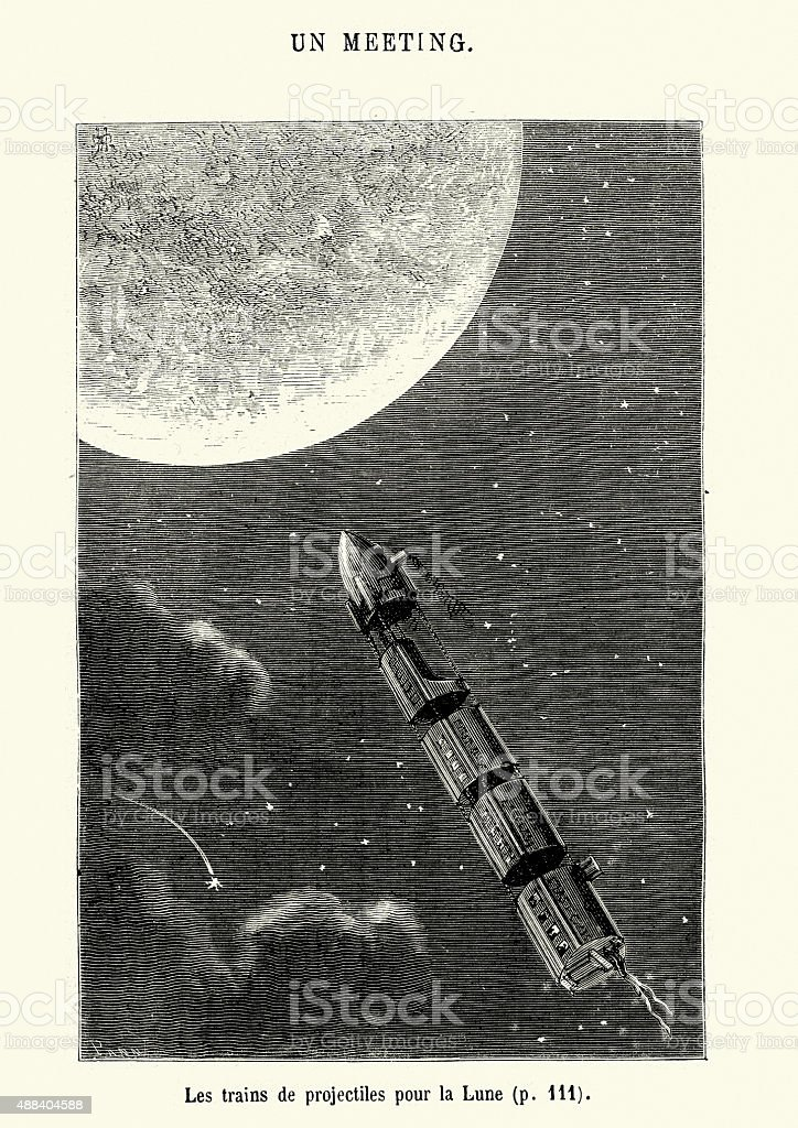 Jules Verne - Projectile Trains for the Moon vector art illustration