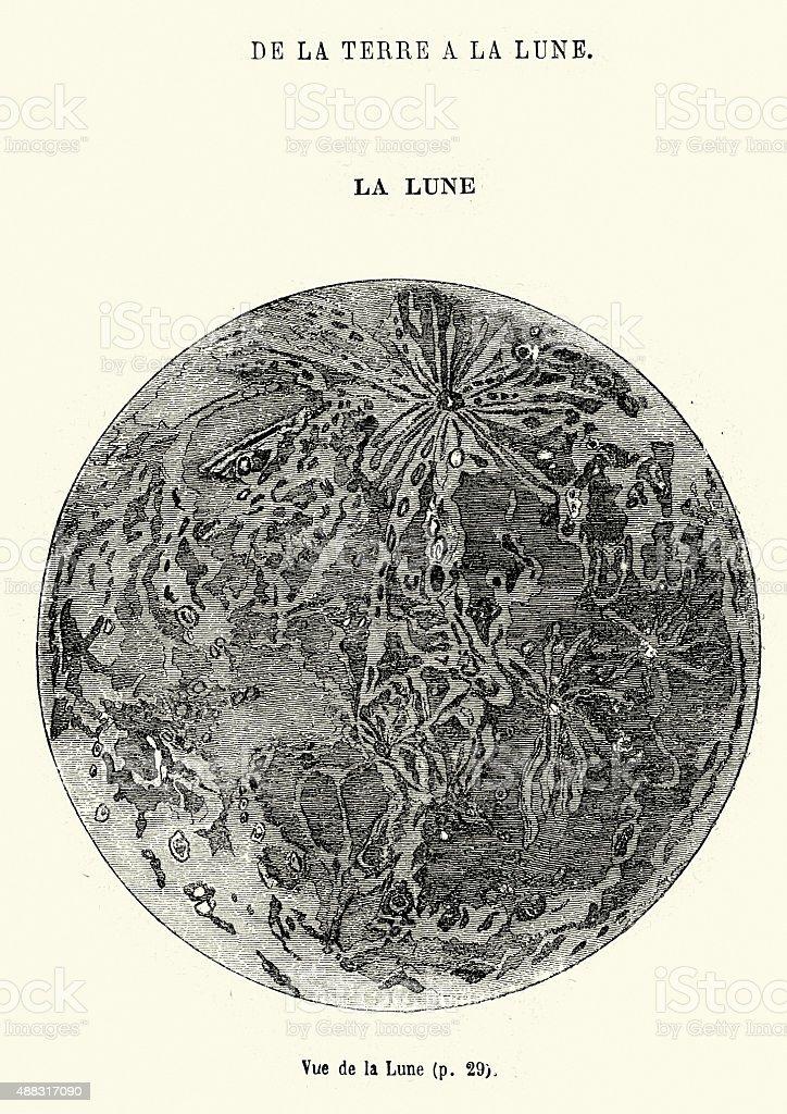 Jules Verne - The Moon vector art illustration